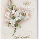Lilies Star Embossed Vintage Easter Postcard 1916