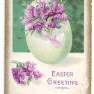 Lilacs in Egg Embossed Vintage Easter Postcard