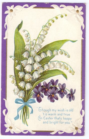 Lily of the Valley Embossed Vintage Easter Postcard