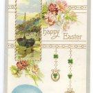 Sailboat Shamrocks Egg Embossed Vintage Easter Postcard