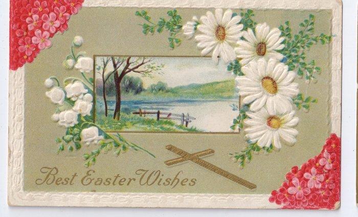Cross Daisies Embossed Vintage Easter Postcard