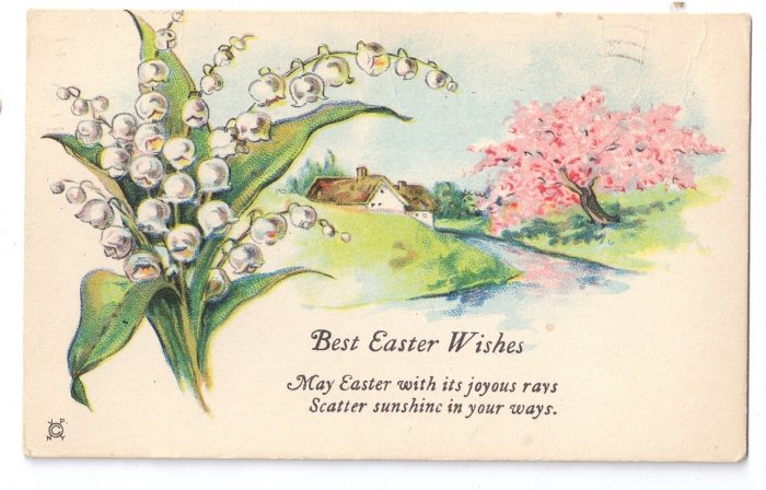 Lily of the Valley Vintage Easter Postcard 1931