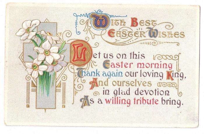 Narcissus Arts & Crafts Embossed Gilt Vintage Easter Postcard 1931