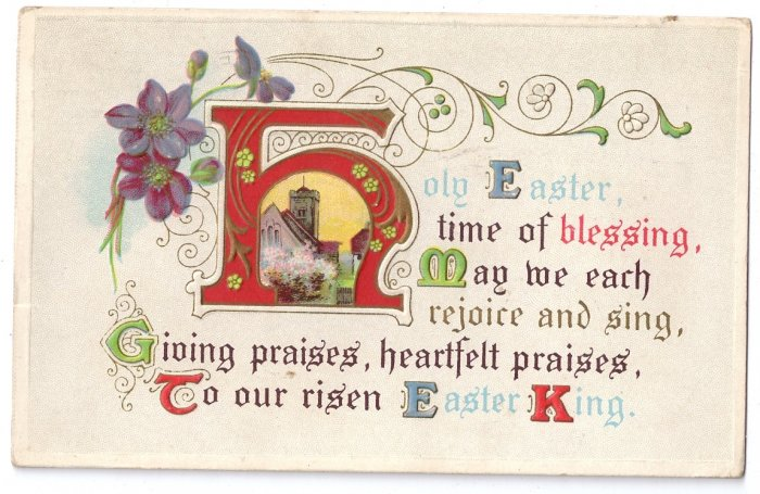 Arts & Crafts Illuminated Letter Vintage Easter Motto Postcard