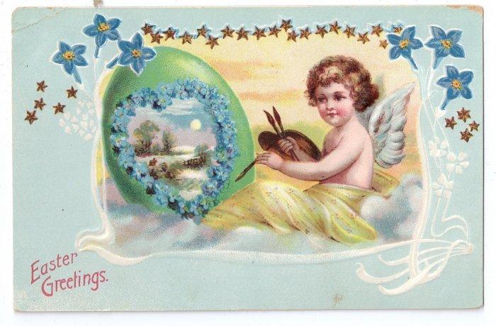Angel Cherub Painting Egg Embossed Antique Easter Postcard 1908