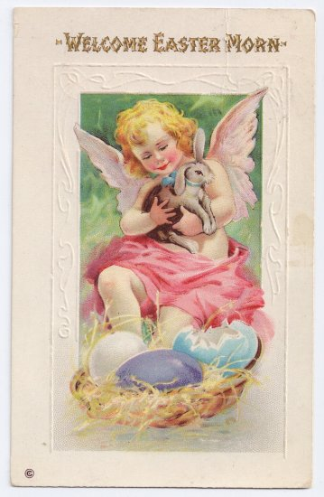 Angel Cherub Bunny Rabbit Embossed Antique Easter Postcard Stecher