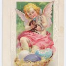 Angel Cherub Bunny Rabbit Embossed Antique Easter Postcard Stecher