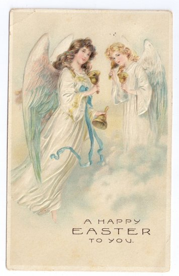 Angels Handbells Embossed Vintage Easter Postcard 1908