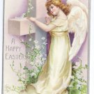 Angel Cross Embossed silver Gilt Vintage Easter Postcard
