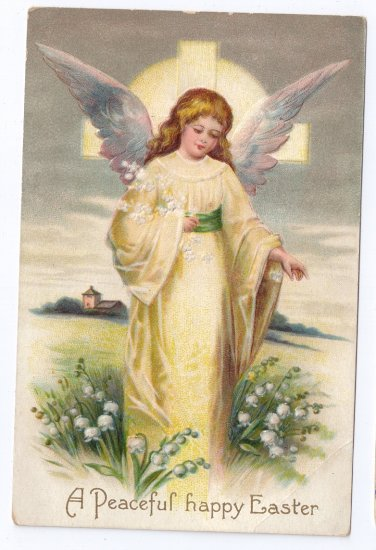 Angel Embossed Vintage Easter Postcard IAP