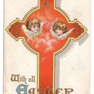 Angels Cherub Faces Embossed Vintage Easter Postcard 1917