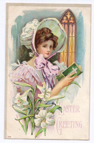 Pretty Woman Prayer Book Vintage Easter Postcard