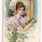 Pretty Woman Prayer Book Vintage Easter Postcard