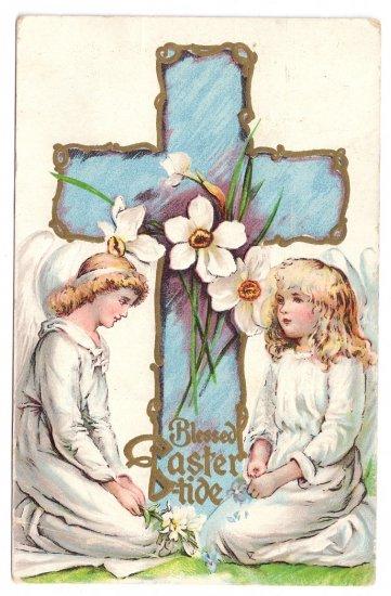 Angels Cross Narcissus Embossed Vintage Easter Postcard 1908