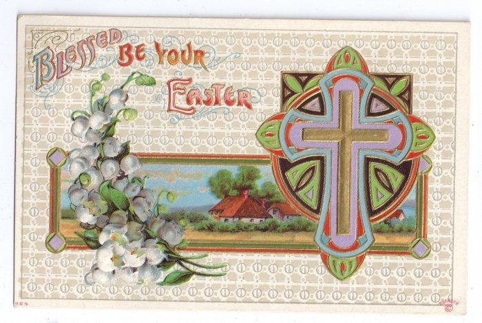 Cross Arts & Crafts Embossed Gilt Vintage Easter Postcard P. Sander 1911