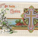 Cross Arts & Crafts Embossed Gilt Vintage Easter Postcard P. Sander 1911