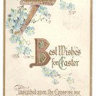 Birch Cross Embossed Gilt Vintage Easter Postcard 1922