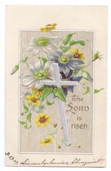 Silver Cross Embossed Silver Gilt Vintage Easter Postcard 1909