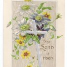 Silver Cross Embossed Silver Gilt Vintage Easter Postcard 1909