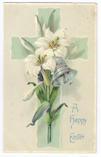 Cross Lily Embossed Vintage Easter Postcard
