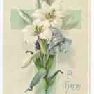 Cross Lily Embossed Vintage Easter Postcard