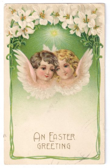 Angels Embossed Vintage Easter Postcard 1908