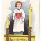Choir Girl Embossed Gilt Vintage Easter Postcard
