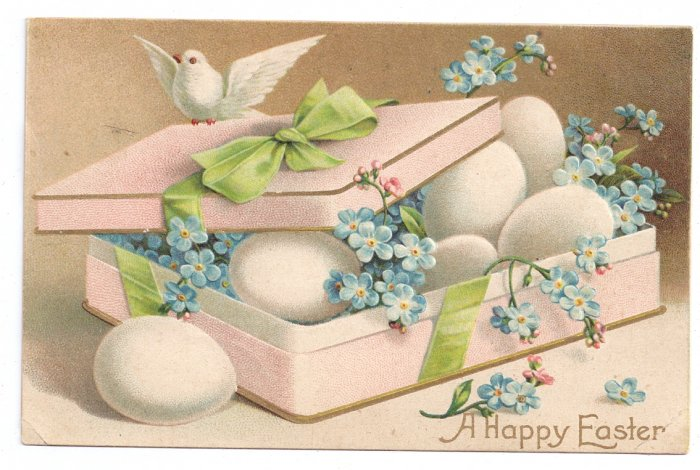 Dove and Eggs Embossed Vintage Easter Postcard IAP