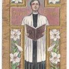 Cross Choir Singer Embossed Gilt Vintage Easter Postcard