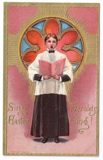 Choir Boy Embossed Gilt Vintage Easter Postcard 1909