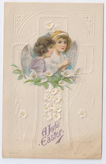 Angels Lilies Embossed Vintage Easter Postcard 1920