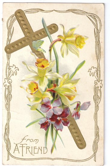 Gold Cross Narcissus flowers Embossed Vintage Easter Postcard