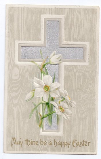 Silver Cross Narcissus flowers Embossed Vintage Easter Postcard