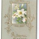 Lilies Arts & Crafts Embossed Gilt Vintage Easter Postcard