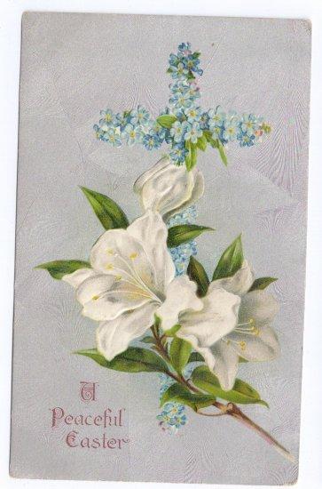 Flower Cross Embossed Silver Gilt Vintage Easter Postcard