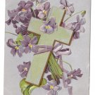 Cross Violets Embossed Silver Gilt Vintage Easter Postcard IAP