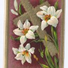 Lilies Gold Cross Embossed Vintage Easter Postcard