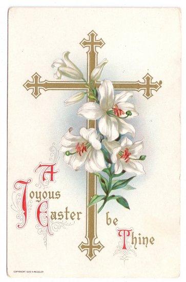 Gold Cross Lilies Wessler 1909 Embossed Vintage Easter Postcard