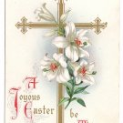 Gold Cross Lilies Wessler 1909 Embossed Vintage Easter Postcard