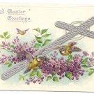 Silver Cross Flowers Embossed Tuck Vintage Easter Postcard