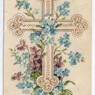 Violets Cross Flowers Embossed Vintage Easter Postcard