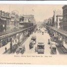 Bowery NY ca 1905 Elevated Rail Trolley Horse Carts UND Litho Vintage Postcard