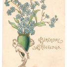 Arts & Crafts Embossed Gilded Vintage Birthday Postcard Forget Me Nots Fish Vase