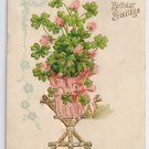 Four Leaf Clover Embossed Gilded 1908 Vintage Birthday Postcard