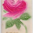 Embossed Airbrushed Rose 1907 Vintage Birthday Postcard
