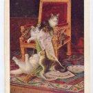 Jules Leroy Cats In Mischief UND 1908 Vintage Postcard Artist signed
