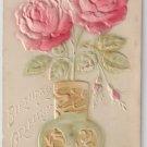 Embossed Airbrushed Roses Vintage Birthday Postcard