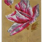 Embosssed Gold HP Rose Vintage Birthday Postcard