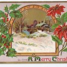 Embossed 1910 Vintage Christmas Postcard Poinsettias Country Scene