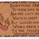 Vintage Leather Postcard Success Poem ca 1910